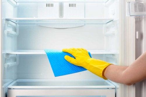Donna che pulisce il frigorifero