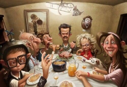 Famiglia seduta a tavola