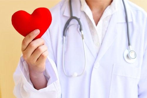 dottore con cuore di plastica in mano
