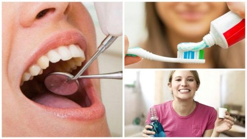 donna dal dentista con spazzolino e che fa risciacqui