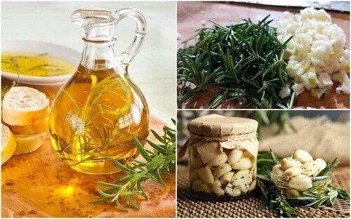 Olio aromatizzato all'aglio e rosmarino