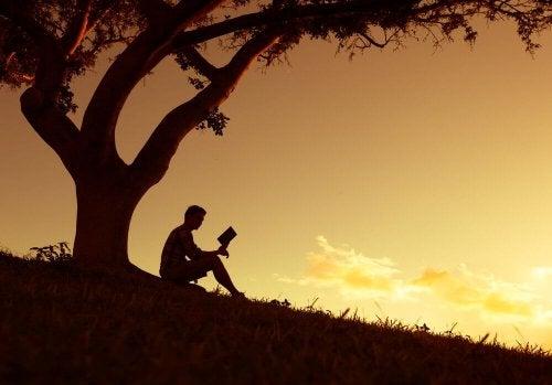 Uomo che legge un libro sotto a un albero