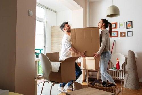 Coppia sposta mobili in casa
