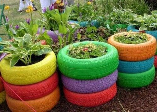 riciclare pneumatici come vasi