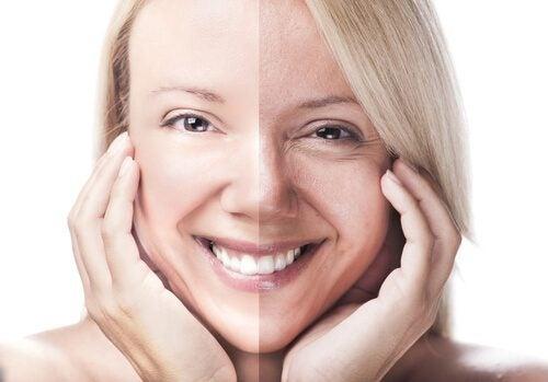 Donna con volto diviso a metà per evidenziare differenze pelle
