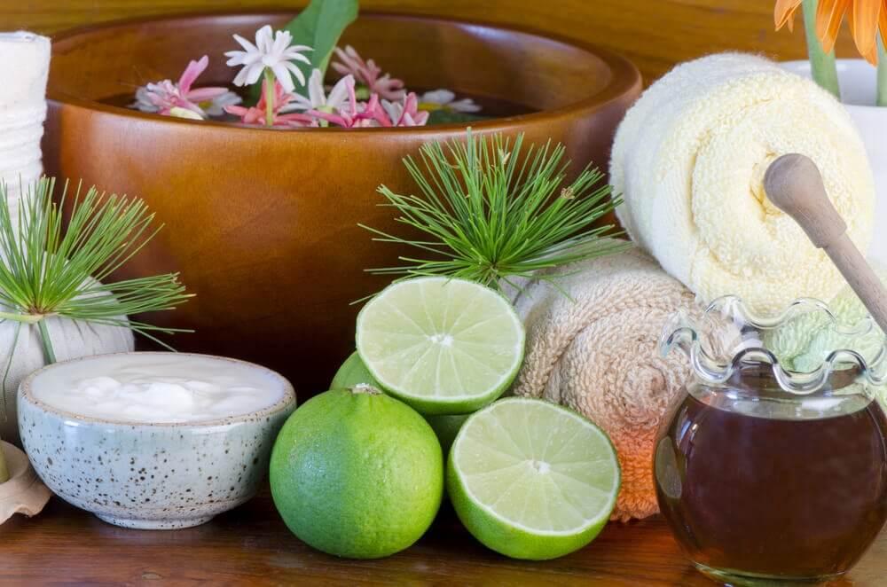 lime crema e oggetti per il bagno