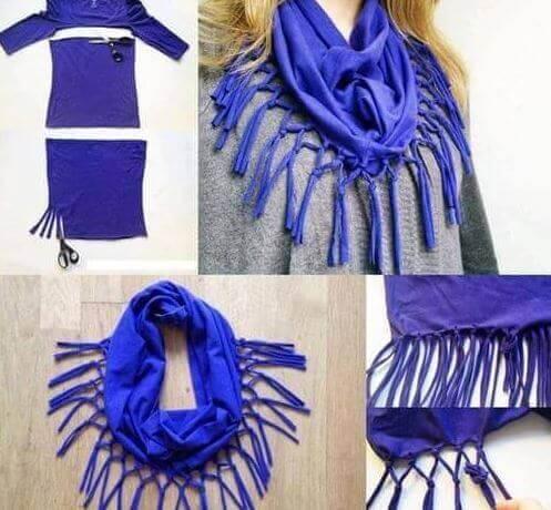 creare una sciarpa con abiti vecchi