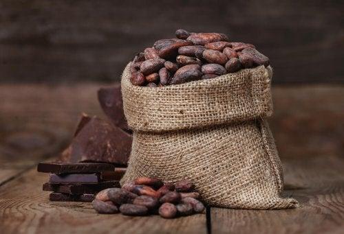 Mangiare il cioccolato fondente - Sacco con fave di cacao
