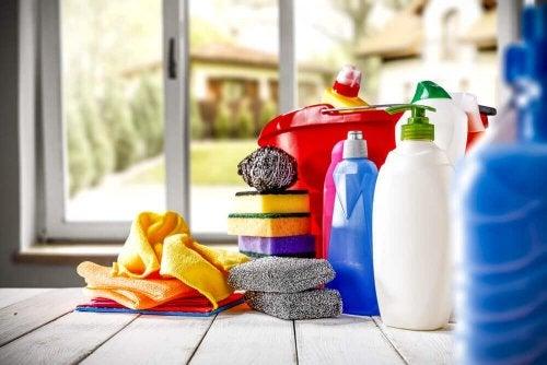 Candeggina e altri prodotti per la pulizia della casa