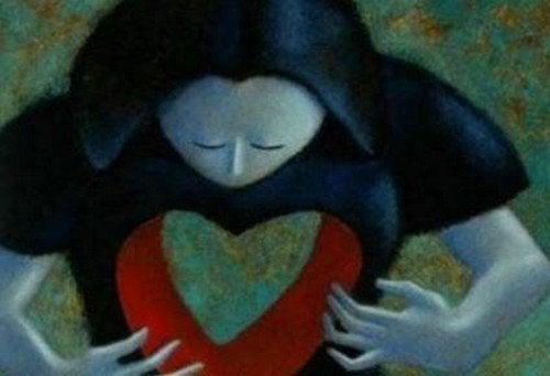 Vuoto emotivo rappresentato con mancanza di cuore nel corpo