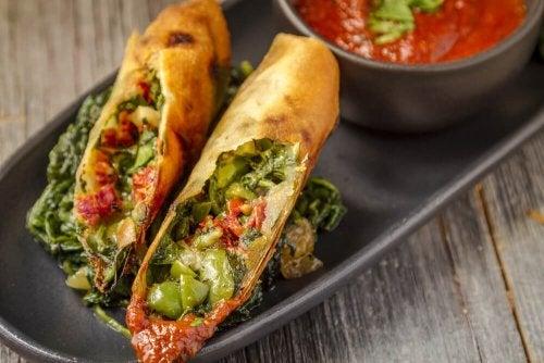 Involtini di spinaci con vegetali