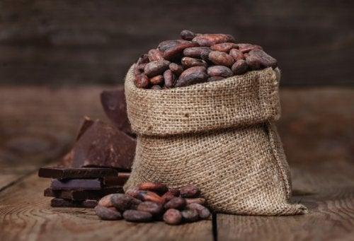 Sacco pieno di chicci di cacao