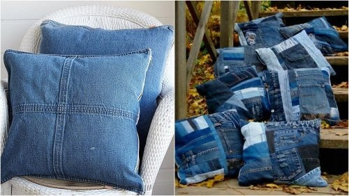 Cuscini fatti con vecchi jeans
