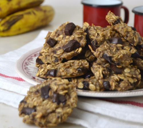Biscotti di avena banana e cioccolato