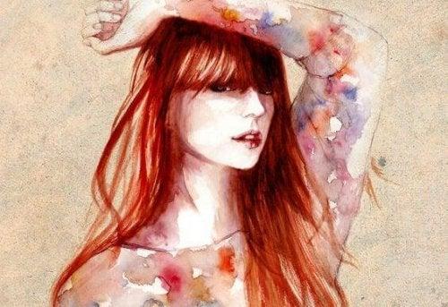 Disegno di donna con i capelli rossi