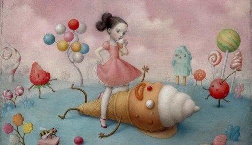 Bambina che mangia un gelato