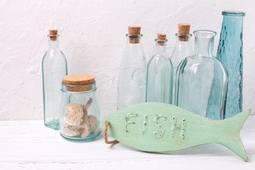 Bottiglie arredamento in stile marinaro