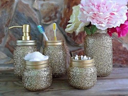 Barattoli di vetro con glitter