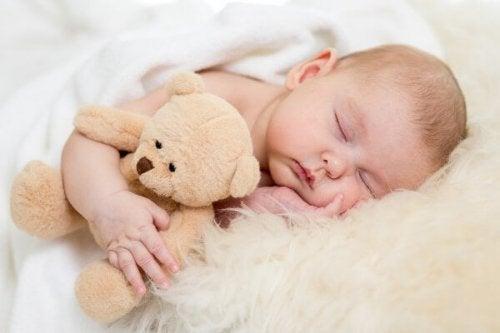 Neonato che dorme con un peluche