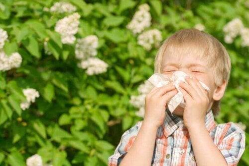 Asma infantile, bambino starnutisce nel fazzoletto