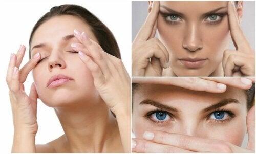 Massaggio delle palpebre per calmare lo affaticamento visivo digitale