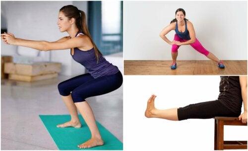 Donna esegue esercizi per le gambe