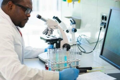 Ricercatore con provette e microscopio