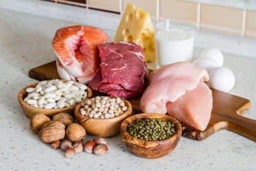 Carni, legumi, latticini e frutta secca.