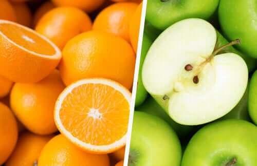 Arance e mele verdi
