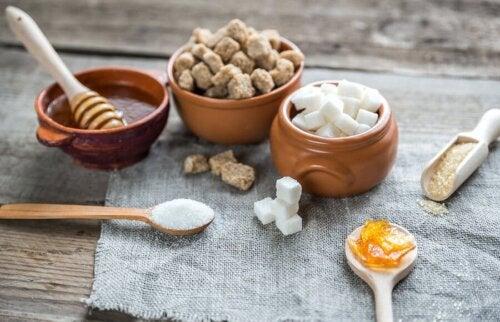 Diversi tipi di zucchero e miele
