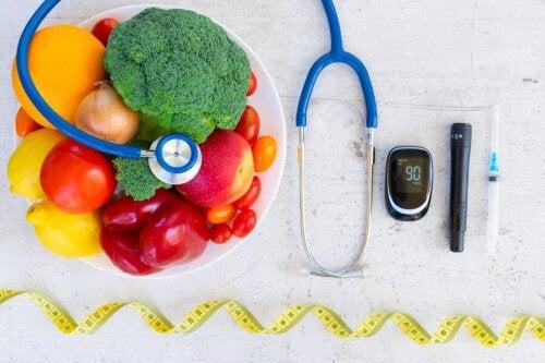 Frutta e verdura e strumenti per il controllo del diabete