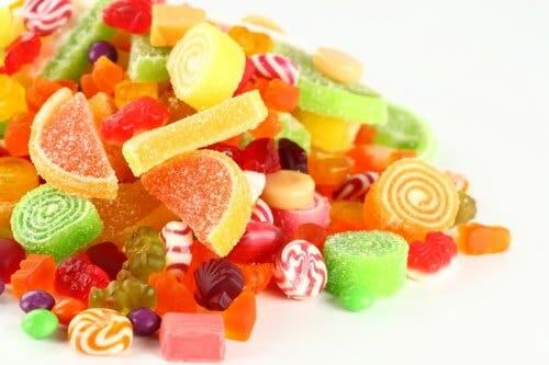 Caramelle ricche di zuccheri