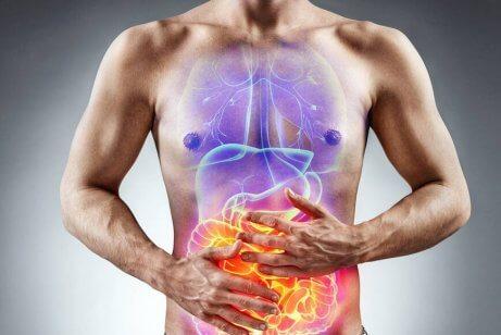 Infiammazione dell'intestino a causa della celiachia.