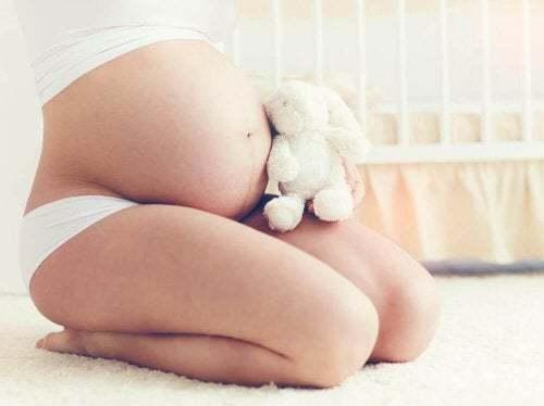 Donna incinta con peluche.