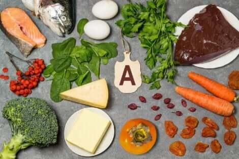 Alimenti che contengono la vitamina A.