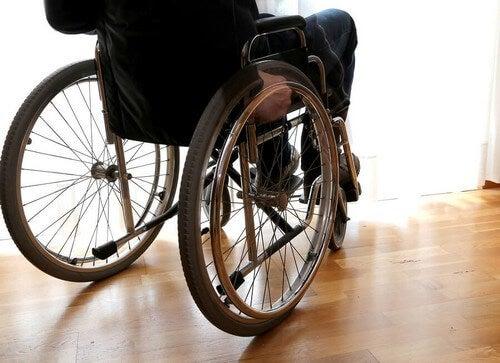 Persona con la sclerosi multipla sulla sedia a rotelle.