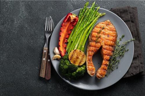 Alimenti consentiti nella dieta chetogenica in un piatto.