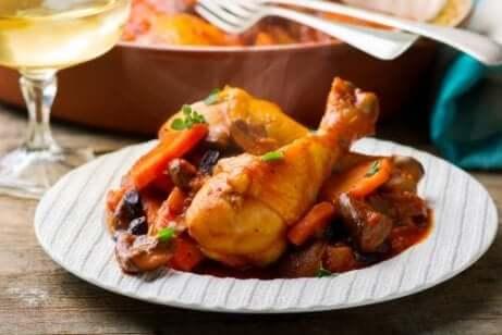 Coscia di pollo al limone e peperoni.