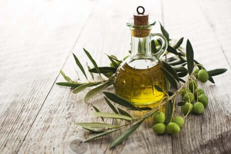 Boccetta di olio d'oliva con ramoscello d'ulivo.