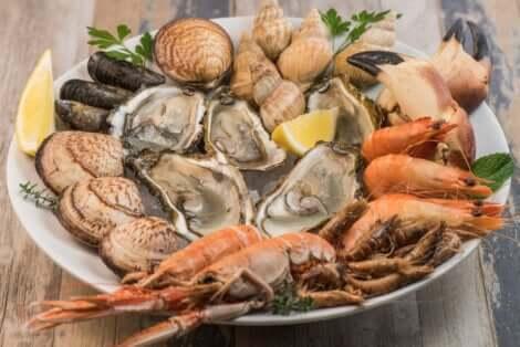 Piatto con molluschi e crostacei.