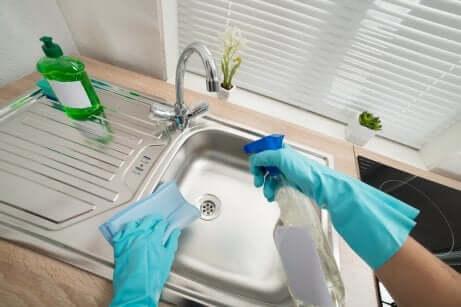 Pulire acciaio inossidabile del lavello.