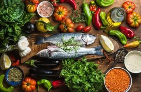 Alimenti della dieta mediterranea.
