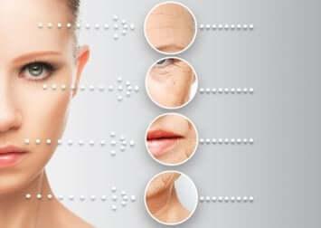 Punti critici dell'invecchiamento della pelle su viso femminile.