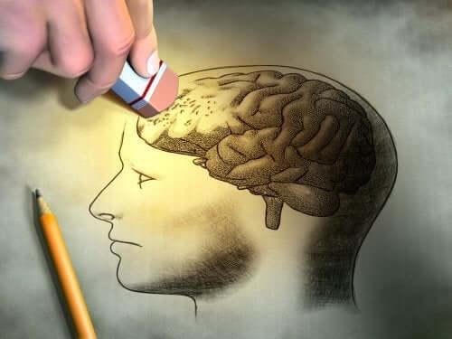Gomma cancella disegno del cervello.