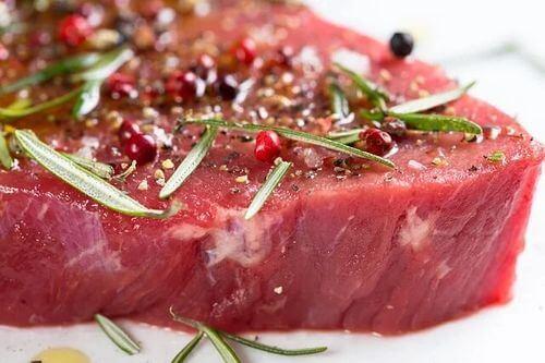 Carne di manzo in una dieta iperproteica.