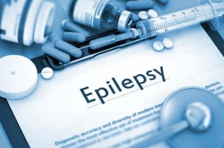 Scritta epilessia e compresse.
