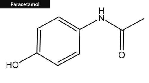 Struttura chimica del paracetamolo.