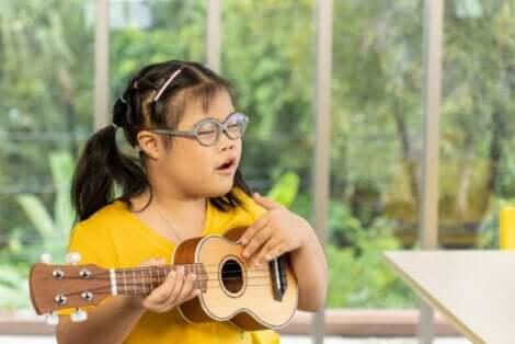 Disabilità intellettiva: bambina affetta da sindrome di Down.