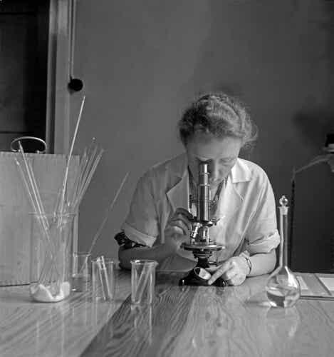 Donna studia per diventare scienziata.