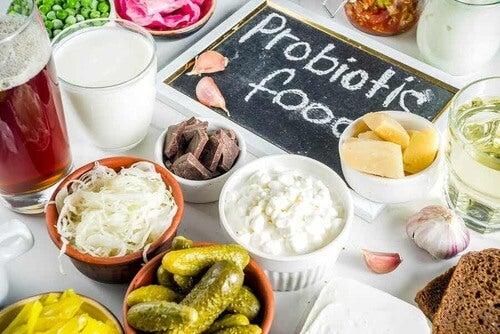 Probiotici sulla tavola.